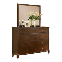 Coaster - Coaster Addley Dresser and Rectangular Mirror Set - Coaster - Dressers - 202453+7PKG - Coaster Addley Eight Drawer Double Dresser in Dark Cherry (included quantity: 1) Bring a beautiful storage piece to your bedroom with this casual dresser. Characterized by sleek, straight lines, it is lifted on tapered feet. Multiple drawers provide plenty of space for tucking away clothing and apparel items like shirts, pants, sweaters, and more. Euro slide glides allow for easy opening and closing of each drawer, and the top drawers are felt-lined for storing valuables or keepsakes. Drawer fronts are decorated with simple hardware knobs. Pair with a coordinating dresser mirror for a complete duo.