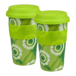 Konitz - Green Batik Medium Travel Mugs, Set of 2 - Brightly-colored neon green travel mugs feature a Batik print. White bursts on a colored background create a tie-dye effect. Durable and stylish porcelain mugs have a ribbed grip for easy handling. Colored silicone lid prevents spilling or splashing.