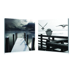 """Wholesale Interiors - Lake Lookout Mounted Photography Print Diptych - Two lake views, equally suited for a moment of reflection and relaxation, are depicted beautifully in this 2-piece black and white photography wall art set. The Lake Lookout Diptych is made in China with MDF wood frames and waterproof vinyl canvas, ready to hang. Please provide your own wall mounting hardware as it is not included with purchase. To clean, wipe with a dry cloth. Product dimension: 19.68""""W x 1""""D x 19.68""""H."""