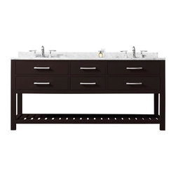 Water Creation - Water Creation Madalyn 72-inch Espresso Double Sink Bathroom Vanity - Two is no longer a crowd in your bathroom when you each have your own sink. This double sink vanity adds contemporary charm and functionality especially suited for sharing with a marble countertop and ceramic sinks.