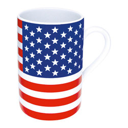 Konitz - Stars & Stripes Mugs, Set of 4 - Show your national pride with this patriotic American Flag Mug in a red, white and blue flag design. The Stars & Stripes Mug Set is perfect for celebrating holidays or showing love for your country. The bottom of the mug explains the unique symbolism of this flag, designed in 1776: thirteen stripes for the founding colonies, fifty stars for fifty states.