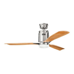 """Kichler Lighting - Kichler Lighting Ridley 52"""" Modern / Contemporary Ceiling Fan X-SSB541003 - This 52 inch Ridley&trade: fan takes a minimalist approach to styling. Featuring a Brushed Stainless Steel finish and Etched Opal Glass accent, this design will impact any space in your home."""