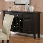Coaster - Buffet Style Server in Cappuccino - Create that extra bit of storage, done in a classy style with this buffet style server. Featuring an amalgam of storage options including three drawers, two doors, and a 12 bottle wine storage rack, this buffet style server is a functional addition to your dining room. Completed in a dark brown finish with silver knob pull hardware, combine this server with the coordinating tables and side chairs to finish the smart and functional look.
