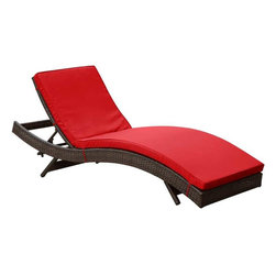 Modway - Peer Chaise in Brown Red - Dont let moments of relaxation elude you. Peer is a serenely pleasant piece comprised of all-weather cushions and a rattan base. Perfect for use by pools and patio areas, chart the waters of your imagination as you recline either for a nap, good read, or simple breaths of fresh air. Moments of personal discovery await with this chaise lounge that has fold away legs for easy storage or stackability with other Peer lounges.