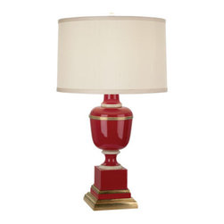 Robert Abbey - Robert Abbey Mary McDonald Annika Accent Lamp 2505X - Red Lacquered Paint and Natural Brass