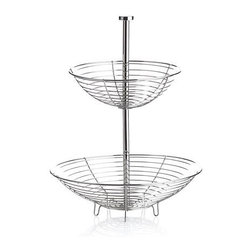 Stainless Wire 2-Tier Basket - Created exclusively for us by industrial design maven Carter McGuyer, this contemporary open wire basket with gleaming electro-polished mirror finish features integrated feet to elevate your centerpiece display of fruit, vegetables or ornamental objects. Thin-gauge wire is soldered to four structural ribs for durability, while easy assembly joins top post to base for two-tiered presentation in one. This special piece is destined to make a great wedding or housewarming gift.