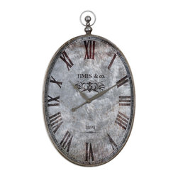 Pocket Watch Argento Antique Wall Clock - *This Pocket Watch Themed Wall Clock Features A Brushed Aluminum Clock Face Under Glass With Rust Distressing And Dark Bronze Numerals Accented With Antiqued Silver Details. Quartz Movement.