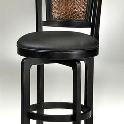 Hillsdale - Wood & Metal Swivel Stool (Counter Height - B - Finish: Counter Height - Black/CopperThis stylish swivel stool has unique appeal that will accent virtually any home. It features a comfortable upholstered seat and a decorative back with a hammered copper motif and a metal rope design. Comes with an attractive black and copper finish. Distressed black wood frame. With a metal turned rope motif at the crown adds substance. Black Vinyl seat. Pictured in Black/Copper finish and finishes. Counter Height: 25 in. W x 19.75 in. D x 43.5 in. H, Seat Height: 26.5 in. H. Bar Height: 25 in. W x 19.75 in. D x 47.5 in. H, Seat Height: 30.5 in. HNorwood stool has expanded on one our most popular design features. Insetting our hammered copper metal back into a distressed black wood frame and accenting the stool with a metal turned rope motif at the crown adds substance, depth and style.