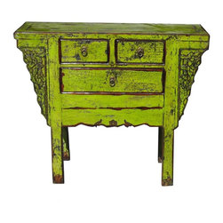 Golden Lotus - Chinese Lime Green Lacquer Console Table - This cabinet is painted with modern lime green lacquer color. With its old rustic body, its vintage finish creates an interesting mix of old and new. It is a decorative storage cabinet for the living room or office.