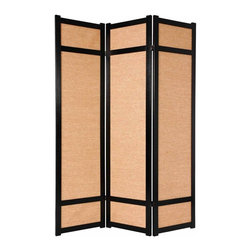 Oriental Unlimited - Jute Fiber 72 Inch Room Divider - JKSHOJI-BLACK-3_PANEL - Shop for Room Dividers from Hayneedle.com! A substantial and unique variation on the traditional Japanese shoji screen the Oriental Unlimited Jute 72-Inch Room Divider is a great choice where the white paper of traditional shoji screens may not fit with the decor. Instead the shade is made from strong tightly woven jute which blocks light and provides complete privacy. Panel frames are crafted from durable lightweight Raminwood using East Asian-style mortise-and-tenon joinery. Lacquered-brass two-way hinges mean you can bend the panels in either direction for convenience. Select from four fine wood finishes in 3- 4- 5- or 6-panel options. Each panel measures 17.5L x 0.75W x 71H inches.Sizes3 Panel - (Approximate) Overall Size Dimensions: 54.5W x .75D x 71H inches4 Panel - (Approximate) Overall Size Dimensions: 73W x .75D x 71H inches5 Panel - (Approximate) Overall Size Dimensions: 91.5W x .75D x 71H inches6 Panel - (Approximate) Overall Size Dimensions: 110W x .75D x 71H inchesIndividual panels are approximately 17.5 inches wide and 71 inches tall.About Oriental FurnitureWhat began in 1985 as a simple retail store in Natick Mass. has now blossomed into Oriental Furniture one of the largest online retailers of Asian furniture gifts and accessories. The company is always combing the globe for beautiful quality products and imports items directly from other countries in order to reduce costs for customers. With a wide variety of products available Oriental Furniture offers distinctive design solutions for the style-minded home decorator.