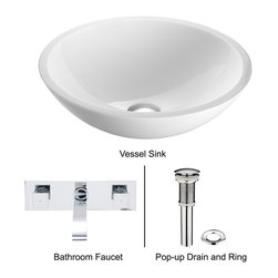 Vigo - White Phoenix Stone Glass Vessel Sink with Brushed Nickel Wall Mount Faucet - The VIGO White Phoenix Stone Glass Vessel Sink with Brushed Nickel Wall Mount Faucet brings an elegantly stylish piece to your home.