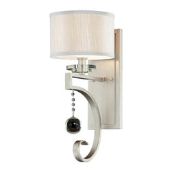Savoy House - Rosendal 1-Light Sconce - Your walls will shine, shimmer and glow with these wall sconces. The crystal accent hangs luminously from the silver, which is wound so elegantly that you might not ever want to look away.