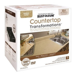 Rustoleum Brands - 258286 Desert Sand Counter Kit - COUNTERTOP TRANSFORMATIONS(R) KIT  Simple, affordable & hassle-free way to -  transform worn or damaged countertop into-  beautiful, durable new counter surfaces  Coating system gives permanent look of -  natural stone products  Just sand, roll, spread, smooth, seal & enjoy  Complete kit of all items needed to transform -  countertops along w/DVD instructions & pamphlet    258286 DESERT SAND COUNTER KIT  COVERAGE:50 Sq. Ft.  Color: Desert Sand