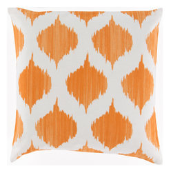 Surya - Ogee, Burnt Orange, 18x18 Pillow - Add spice to any room with this decorative pillow coming in six different colors and two sizes. Featuring an ikat print with a watercolor design, this pillow has a fresh take on the popular ikat style.