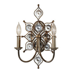"Murray Feiss - Contemporary Murray Feiss Leila 16 1/4"" High Burnished Silver Wall Sconce - This two-light burnished silver wall sconce will bring a brilliant sparkle to your home decor. With shining Bauhinia crystal accents the look is radiant with a touch of vintage flair. This beautiful design is part of the elegant Leila collection by the Murray Feiss lighting company. Leila two-light wall sconce. Burnished silver finish. Bauhinia crystals. Takes two 60 watt Candelabra torpedo bulbs (not included). 16 1/4"" high. 10 3/4"" wide. Extends 6"" from the wall. Back plate is 8 1/4"" high 4 1/2"" wide.  Leila two-light wall sconce.  Burnished silver finish.  Bauhinia crystals.  Takes two 60 watt Candelabra bulbs (not included).  16 1/4"" high.  10 3/4"" wide.  Extends 6"" from the wall.  Back plate is 8 1/4"" high 4 1/2"" wide."