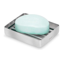 Blomus - Nexio Stainless Steel Soap Dish - Rail inner design. Made of stainless steel. Designed by Stotz-Design. 1-Year manufacturer's defect warranty. 4 in. L x 3.15 in. W x 0.8 in. H