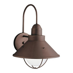 BUILDER - BUILDER Seaside Transitional Outdoor Wall Sconce X-ZO3209 - A warm Olde Bronze finish highlights the lines of this Kichler Lighting outdoor wall sconce from the Seaside Collection. The industrial inspired shape features a clean cone shaped shade with multiple curves to soften the look.