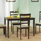 TMS - Havana 5 Piece Dining Set - Features: -Set includes one dining table and four dining chairs.-Contemporary chair upholstered in neutral color fabric.-Constructed of solid rubber wood.-Espresso finish.-Collection: Havana.-Distressed: No.Dimensions: -Dining table dimensions: 29'' H x 28'' W x 45'' D.-Dining chair dimensions: 37.75'' H x 17.5'' W x 19.25'' D.