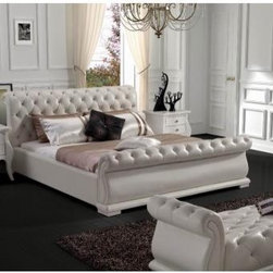 Bestsellers - Modern White Tufted Leatherette Bed by VIG Furniture