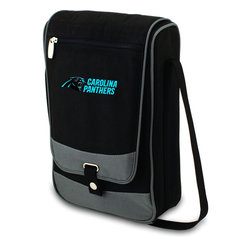 """Picnic Time - Carolina Panthers Barossa Wine Tote in Black - The Barossa is so sleek and sophisticated, you'll want to take it with you every chance you get. It's made of 600D polyester and features an adjustable shoulder strap that makes it easy to carry and a flat zippered pocket on the exterior flap. The Barossa is fully insulated to keep your wine the perfect temperature and has a divided interior compartment to separate your bottle of wine from the 2 (8 oz.) acrylic wine glasses included. Also included are: 1 stainless steel waiter style corkscrew, 1 bottle stopper (nickel-plated), and 2 napkins (100% cotton, 14 x 14"""", Black with silver pinstripe). The Barossa wine tote is perfect for picnics, concerts, or travel and makes a wonderful gift for those who enjoy wine.; Decoration: Digital Print; Includes: 4 stainless steel waiter style corkscrew, 1 bottle stopper (nickel-plated), and 2 napkins (100% cotton, 14 x 14"""", Black with silver pinstripe)"""