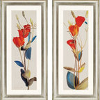 "Paragon Decor - Grandiflorum, Set of 2 Artwork - Brighten up those boring walls with this colorful set of 2 art pieces. Both pieces included in ""Grandiflorum"" contrasts vivid passionate red and orange tones with cool royal blues and soft muted mustard yellows. Playing with this varied version of the primary colors allows the flowers in the piece to create diversifications in hue, creating an entire spectrum of chroma. Each piece includes a white matte and silver bevel-edged frame. Each piece in this set measures 21 inches wide by 2 inches deep, by 45 inches high."