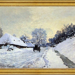 """Claude Oscar Monet-16""""x24"""" Framed Canvas - 16"""" x 24"""" Claude Oscar Monet A Cart on the Snow Covered Road with Saint-Simeon Farm framed premium canvas print reproduced to meet museum quality standards. Our museum quality canvas prints are produced using high-precision print technology for a more accurate reproduction printed on high quality canvas with fade-resistant, archival inks. Our progressive business model allows us to offer works of art to you at the best wholesale pricing, significantly less than art gallery prices, affordable to all. This artwork is hand stretched onto wooden stretcher bars, then mounted into our 3"""" wide gold finish frame with black panel by one of our expert framers. Our framed canvas print comes with hardware, ready to hang on your wall.  We present a comprehensive collection of exceptional canvas art reproductions by Claude Oscar Monet."""