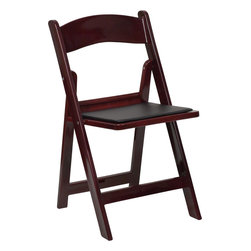 Flash Furniture - Hercules Series 1000 Lb. Capacity Red Mahogany Resin Folding Chair - This Hercules Series Folding Chair features a 1000 lb. weight capacity so that you can be assured that it will accommodate any function. From indoor or outdoor weddings to other upscale events, this resin folding chair will never let you down. Featuring a padded vinyl seat, our black folding chair will provide an excellent solution to all your event planning needs.