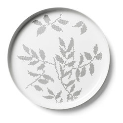 Gray Leaves Large Serving Dish