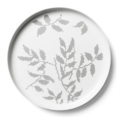 MENU - Gray Leaves Large Serving Dish - This artisan-designed porcelain serving dish will bring grace and style to every meal. The timeless elegance of its traditional Danish design means you will enjoy it for years to come.