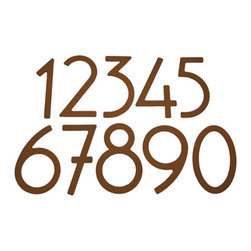 "Rust Contemporary Adhesive House Numbers - These 5"" Rust Powder Coated house numbers complement any home's exterior, and the adhesive mount is perfect for easy installation on houses or mailboxes. Sold individually."