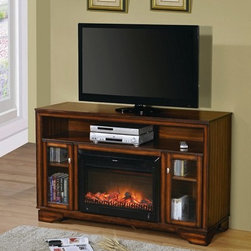 "Acme - Calvert Cherry Finish Wood TV Stand Entertainment Center - Calvert cherry finish wood TV stand entertainment center with built in electric fireplace heater. Measures 60"" x 20"" x 38"" H. Some assembly may be required."