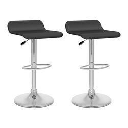 Sonax - Sonax CorLiving Curved Bar Stool in Black Leatherette (Set of 2) - Sonax - Bar Stools - B802VPD -Style your home with this inviting and durable Bar Stool set from our new CorLiving Collection. This pair of Black leatherette chairs are the perfect way to relax indoors. Height adjustable and easy to wipe clean the tough PVC leatherette seat is highlighted with a sturdy chromed gas lift and base. Simple stitched edges on the seat complete the contemporary design. A great way to maximize your kitchen or living space!
