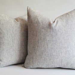 Navy Blue/White Raw Linen Pillow Cover by Sukan - This textured pillow is a mix of natural and navy linen and is very nice.