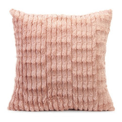 Pretty in Coral Faux Fur Pillow - The princess is no longer pretty in pink; now, she is cordial in coral. Accent your bedspread or sofa with this 60's-inspried faux fur pillow, where enjoying the softness of fur doesn't have to be at the expense of an animal, nor a limited color pallet!