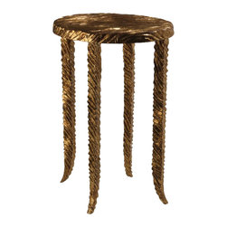 Studio A - Studio A Waves Gold Martini Traditional End Table X-65008.7 - Inspired by mid-century French designer Line Vautrin's work in plated metals, the Waves collection highlights hand-applied finishes over cast iron.