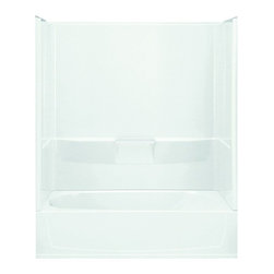 Sterling - Sterling Performa 71040112 60W x 77.75H in. Bathtub Shower Combo with Above Floo - Shop for Tubs from Hayneedle.com! The Sterling Performa 71040112 60W x 77.5H in. Bathtub Shower Combo with Above-floor drain is the same stunning model as the 71040110 but with a factory-installed three-inch apron extension for an above-floor drain which means you won't need to cut into the sub-floor or install extra fire or pest protection. A spacious bath with three high walls the Performa by Sterling offers a relaxing experience for individuals of all shapes and sizes. The Sterling name has a reputation for superior craftsmanship at every level and the solid Vikrell construction of this unit is no exception. The compression-molded Vikrell is a Sterling exclusive that provides strength durability and a lasting beauty. Customize your purchase with an almond biscuit or white finish that's coated in a high-gloss that creates a smooth shiny surface which is easy to clean. This CSA-certified bathtub measures 60W x 29D x 77.5H inches and is ADA-adaptable when installed per the requirements of the Accessibility Guidelines Section 607 Bathtubs. Choose from either the left-hand or right-hand drainage hole model depending on your home setup.Product Specifications:Overall Height: 77.75 inchesOverall Width: 60 inchesOverall Depth: 29 inchesHeight (Back Panel): 77.75 inchesWidth (Back Panel): 60 inchesThickness (Back Panel): 1 inchHeight (Side Panel): 77.75 inchesWidth (Side Panel): 29 inchesThickness (Side Panel): 1 inchBase Shape: Oval in rectangleInstallation Type: AlcoveNumber of Thresholds 1Drain Placement: Left or rightAbout SterlingEstablished in 1907 and quickly recognized as a leading manufacturer of faucets and brassware Sterling has been known for their diversity of products and industry-leading designs for over a century. In 1984 Sterling was acquired by Kohler Co. to create a mid-priced full-line plumbing brand and allow Kohler the opportunity to sell their products in re