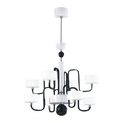 """Zaneen - Panzeri - Zaneen - Panzeri Guggenheim Pendant Light D8-1287 - Product description: The Guggenheim pendant light from Zaneen has been designed by Silvia Poma for Panzeri.  The Guggenheim is constructed of the highest quality Venetian glass designed in Italy.  This contemporary hand crafted work of art in black and white is an example of Lombard skill and mastery.   Guggenheim is available in a six or eight arm pendant light. Details:                         Manufacturer:                        Zaneen-Panzeri                                                 Designer:                          Silvia Poma                                         Made  in:            Italy                            Dimensions:                         Small D8-1287: Height: 27 1/2 """" (70 cm) Diameter: 31 1/2"""" (80 cm)             Large D8-1288: Height: 29 1/2"""" (75  cm) Diameter: 31 1/2"""" (80 cm)                                         331/2 Light  bulb:                        Small: 6 X 60W G9 Halogen              Large: 8 X 60W G9 Halogen                                          Material:            chrome / venetian glass                      Product description: The Guggenheim pendant light from Zaneen has been designed by Silvia Poma for Panzeri.  The Guggenheim is constructed of the highest quality Venetian glass designed in Italy.  This contemporary hand crafted work of art in black and white is an example of Lombard skill and mastery.   Guggenheim is available in a six or eight arm pendant light. Details:                         Manufacturer:                        Zaneen-Panzeri                                                 Designer:                          Silvia Poma                                         Made  in:            Italy                            Dimensions:                         Small D8-1287: Height: 27 1/2 """" (70 cm) Diameter: 31 1/2"""" (80 cm)             Large D8-1288: Height: 29 1/2"""" (75  cm) Diameter: 31 1/2"""" (80 cm)                                    """