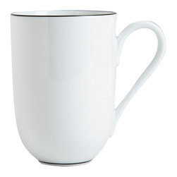 Raynaud - Monceau Noir Porcelain Mug - The edges of this elegant dinnerware are detailed with the slightest hint of black for a dramatic effect. The elegant pieces can be used alone to bring understated wit to the table or dressed up by mixing in with patterns.