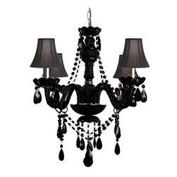 The Gallery - Jet Black Murano Venetian style All Crystalini chandelier Lighting - Jet Black Crystal chandelier! A Great European Tradition. Nothing is quite as elegant as the fine crystal chandeliers that gave sparkle to brilliant evenings at palaces and manor houses across Europe. This unique version from the Royal Collection features the new jet black 100% crystal that captures and reflects the light of the candle bulbs, each resting in a scalloped bob ache. The timeless elegance of this chandelier is sure to lend a special atmosphere in every home.