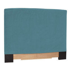 Howard Elliott - Mojo King Slipcovered Headboard - The Slip covered Headboard is constructed with a sturdy wood frame that is padded for maximum comfort, making it solid yet cozy. This piece features a soft suede-like turquoise blue cover