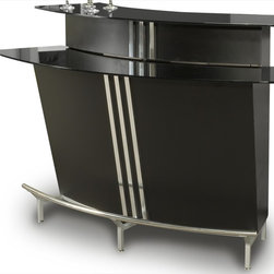 """Chintaly Imports - Broadway Black Glass Bar Table in Black - This Two Tiered Bar is stylish and contemporary with its curved design. Shelves and racks make it easy to store bottles and glasses inside the bar. Beautiful chrome accents and stainless steel footrest. It has 3 built-in shelves. The top shelf is equippe; Two tier; 3 built-in shelves; Wine rack; Dimensions:59.84""""W x 30.7""""D x 41.34""""H"""