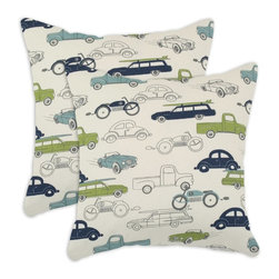 Chooty & Co. - Chooty and Co. Retro Rides 17 x 17 in. Decorative Throw Pillow - Set of 2 Multic - Shop for Pillows from Hayneedle.com! Celebrate classic cars and comfort with the Chooty and Co. Retro Rides 17 x 17 in. Decorative Throw Pillow - Set of 2. These cushiony accent pillows are great for a kids room or as a terrific gift for the car enthusiast in your family. Both pillows are custom-made in the USA with 100% polyester fill and cotton covers with zippered closures.About Chooty & Co.A lifelong dream of running a textile manufacturing business came to life in 2009 for Connie Garrett of Chooty & Co. This achievement was kicked off in September of '09 with the purchase of Blanket Barons well known for their imported soft as mink baby blankets and equally alluring adult coverlets. Chooty's busy manufacturing facility located in Council Bluffs Iowa utilizes a talented team to offer the blankets in many new fashion-forward patterns and solids. They've also added hundreds of Made in the USA textile products including accent pillows table linens shower curtains duvet sets window curtains and pet beds. Chooty & Co. operates on one simple principle: What is best for our customer is also best for our company.