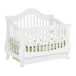 Million Dollar Baby - Million Dollar Baby Ashbury 4-in-1 Convertible Crib with Toddler Rail in White - Designed for grandeur and luxury, the arched back panel and thick slats on the Ashbury convertible crib from Million Dollar Baby provide baby a throne fit for royalty. Winged corners and curved posts complete the design of this opulent crib.