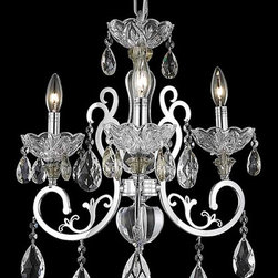 Elegant Lighting - Elegant Lighting 2830D19C/SA Aria 3 Light Chandeliers in Chrome - 2830 Aria Collection Hanging Fixture D19in H20in Lt:3 Chrome Finish (Swarovski Spectra Crystals)