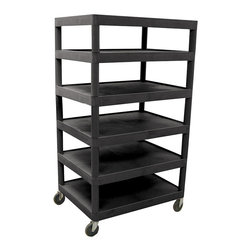 Luxor Furniture - Banquet Cart w 6 Shelves in Black - Includes 4 in. swivel casters. Two castres with locking brake. Multi-tiered and lightweight. Lip around back and sides of flat shelves. Push handle molded into top shelf. 7.75 in. clearance between shelves. Made from high density polyethylene and plastic. Made in USA. 32 in. W x 24 in. D x 58.25 in. H. Warranty. Instructions Manual