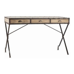 "Arteriors Home - Trent Campaign Desk by Arteriors - Sectioned off by painted iron are the natural wood features of the Trent Campaign Desk by Arteriors. Three front drawers are each appointed with a bin pull handle. Without looking like a traditional desk, this would be a great addition to a bedroom or den. Try this with a colorful upholstered chair. May I suggest CM001_Orange? (ART) 30 1/2"" high x 50"" wide x 24"" deep"