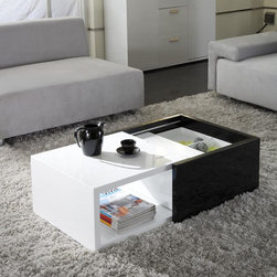 Matrix - Matrix Karla High-gloss Hide-away Storage Coffee Table - Give your living room a new look by adding this modern storage coffee table. This black-and-white table slides open and close,doubling the surface size when needed,and it's perfect for hiding and storing magazines or an extra blanket.