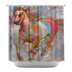 DiaNoche Designs - Shower Curtain Artistic - Smooth Runner II - DiaNoche Designs works with artists from around the world to bring unique, artistic products to decorate all aspects of your home.  Our designer Shower Curtains will be the talk of every guest to visit your bathroom!  Our Shower Curtains have Sewn reinforced holes for curtain rings, Shower Curtain Rings Not Included.  Dye Sublimation printing adheres the ink to the material for long life and durability. Machine Wash upon arrival for maximum softness on cold and dry low.  Printed in USA.
