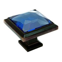 Cosmas - Cosmas 5883ORB-BL Oil Rubbed Bronze & Blue Glass Square Cabinet Knob - Manufacturer: Cosmas