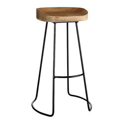 Smart and Sleek Stool - Tall - An all natural, sleek, wood top stool with a skillfully designed, minimalist metal base. Slightly taller, perfect height for a breakfast or kitchen bars.